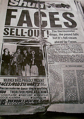 """Faces """"sell Out"""" Rod Stewart Ron Wood Album Advert A3 Original From 1974"""