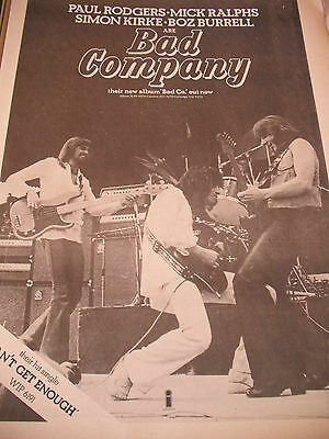 """Bad Company """"bad-Co & Cant Get Enough"""" 1974 Debut Album Advert  Paul Rodgers"""