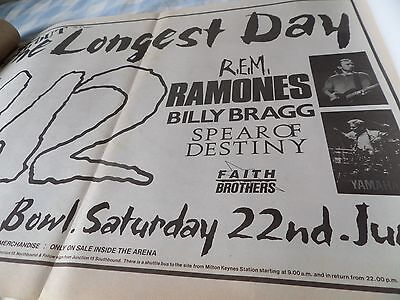"U2 From 1985 ""the Longest  Day"" The Ramones Milton Keynes Gig Advert Double Page"