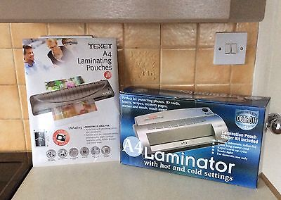 NEW A4 Laminator Hot & Cold Settings + Pack of Pouches