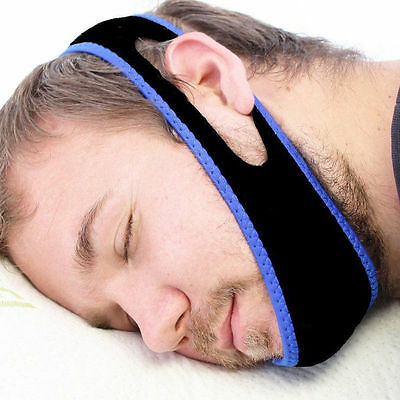 Snore Stop Belt Anti Snoring Cpap Chin Strap Sleep Apnea Jaw Solution TMJ Black