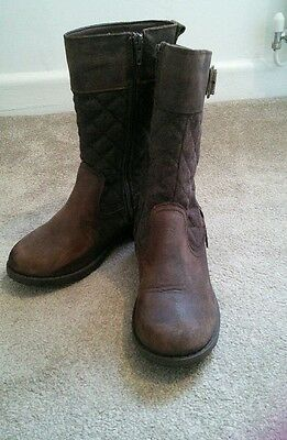 Girls Marks and Spencer Brown Leather Boots size 1