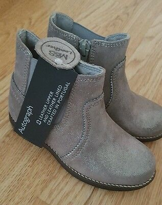 M&S Marks and Spencer Girls Infant size 7 Shoes BOOTS AUTOGRAPH Leather