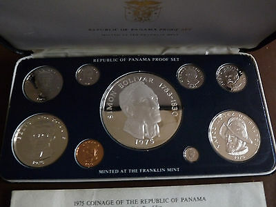 Panama 1975 proof coin set with silver coins including 20 Balboas