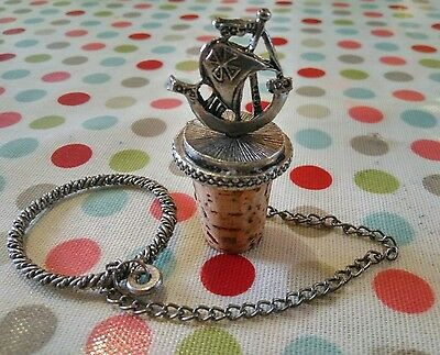 Vintage Pewter Sailing Ship Cork Wine Bottle Stopper With Chain & Neck Ring