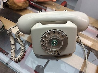 VINTAGE RETRO 1970s  ROTARY DIAL TELEPHONE GREY/WHITE - Fully Converted