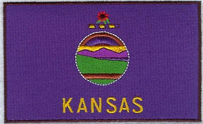 """Kansas State Flag Embroidered Patch 3."""" x 1,8"""""""