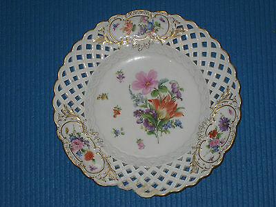 Antique Meissen Reticulated Ribbon Plate - Painted FlowersA/F