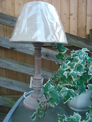 Shabby Chic whitewashed wooden lamp with natural shade Pella
