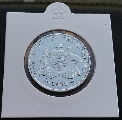 Florin - 2 Shillings from Australia 1924. (0.925 silver)