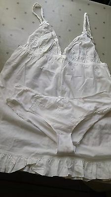 Knickerbox white Cami and briefs set size 18