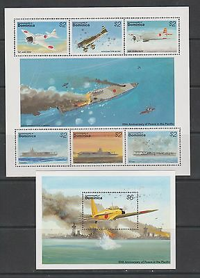 Dominica 1995 military world war II aviation planes ships s/s+klb MNH