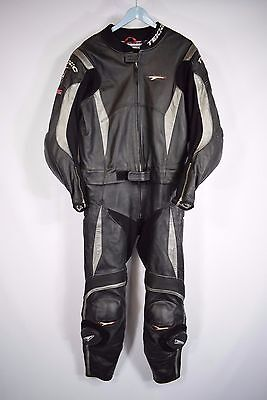 Men's Teknic Black Silver 2 Piece Motorbike Motorcycle Suit Size UK 48