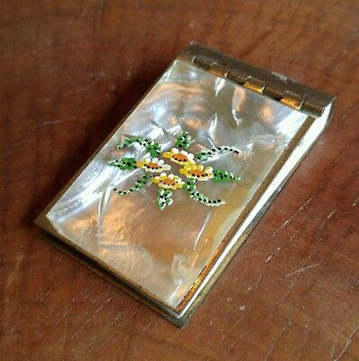 Antique Brass with Mother of Pearl and Enamel Floral Design Notepad.