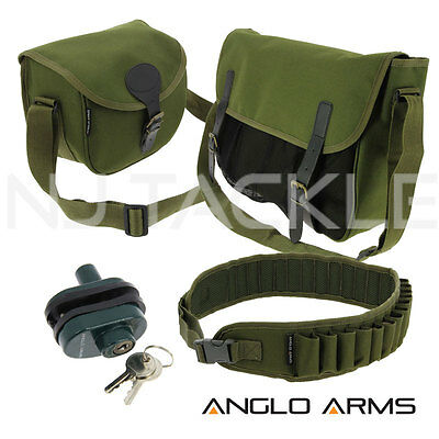 Anglo Arms Hunting Green Cartridge + Game Bag 12 Bore Camo Belt & Trigger Lock
