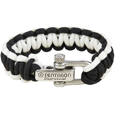 Pentagon Survival Bracelet Prepping Emergency Paracord Wrist Band Black White