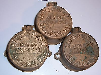 4 Vintage Badger Water Meter Cover brass bronze steampunk USA covers  Milwaukee