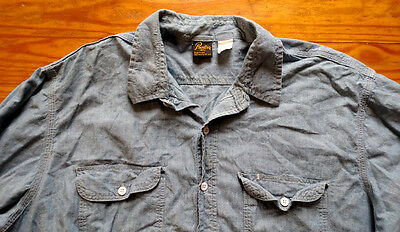 Vintage Prentiss 100% cotton chambray long sleeve shirt work chore made in USA