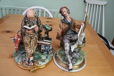 2 large Capodimonte Porcelain figures. 'The Artist' and 'Old Man Reading'. 1970s