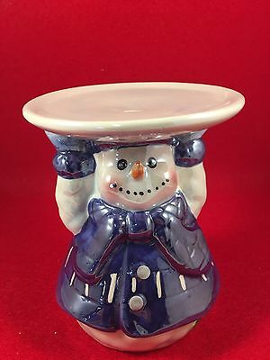 "Snowman Blue Candle Holder 4 1/4 "" Tall"