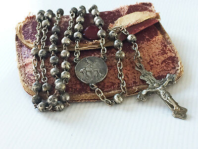 Scarce Antique Us Soldier Military Authentic Ww1 Metal Beads Rosary Rare Medal