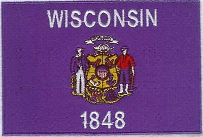 "Wisconsin State Flag Embroidered Patch 3.7"" x 2.5"""