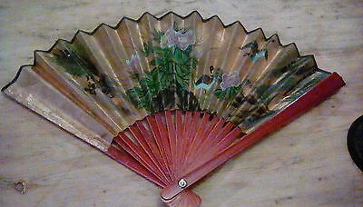 Vintage hand fan. Handpainted and signed.