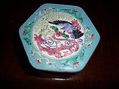 Antique Cloisonne Chinese Enamel With Dragons And Birds Hexagon Box