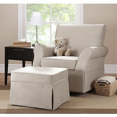 Glider Swivel Upholstered Chair Ottoman Infant Nursery Furniture Baby New
