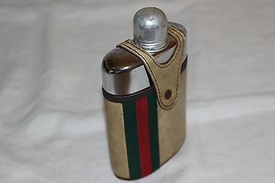 Vintage Hip Flask Bottle - Leather and Glass - Breweriana