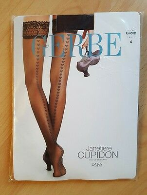 BAS JARRETIERE GERBE NEUFS FLANDRES BRUN FONCE TAILLE 4 STAY UP COEURS collants