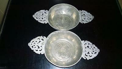 Pair of French Antique Ornate Pewter Quaich's