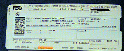 billet de train aller simple Perpignan/Paris Gare de Lyon