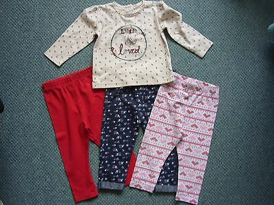 Bundle baby girls top and leggings age 9-12 months