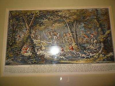 Johann Elias Ridinger, Hunting Stag With Hounds , Hand Coloured Engraving