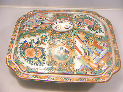 Antique  Chinese Canton Famille Rose Tureen Dish