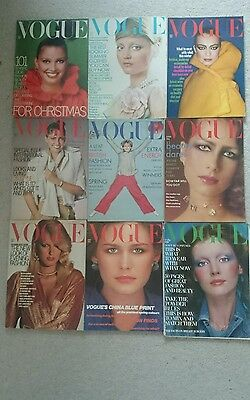job lot (45) of vintage vogue magazines from 1970's