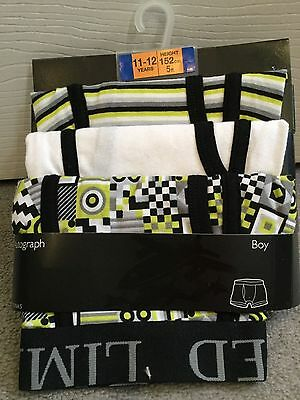 M&S PACK OF 3 BLACK MIX TRUNKS IN WHITE, YELLOW AND BLACK MIX -AGE 11-12y BNWT