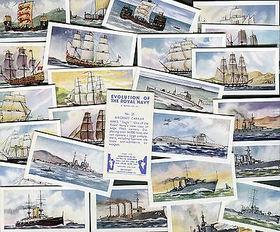 "Swettenham Tea 1957 Set Of 25 ""evolution Of The Royal Navy"" Tea Cards"