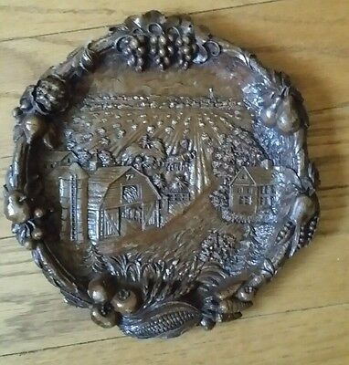 Vintage Americana Farming Barn Faux Wood Resin 3D Plate Wall Hanging Plaque