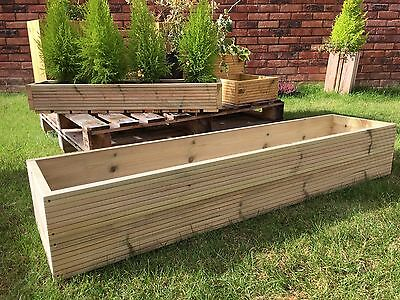 Large 120cm Treated Timber Wooden Decking Window Box Flower, Pot Planter