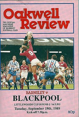 Barnsley v Blackpool (Littlewoods Cup second round, first leg) 1989-90