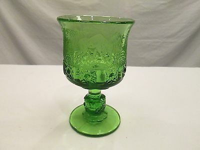 1x GREEN Black Forest LG Wright by Fenton Etched Daisy & Cube Moose Glass Goblet