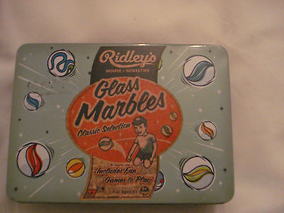 Ridley's Classic Toys 70 Traditional Glass Marbles In A Tin Assorted Sizes