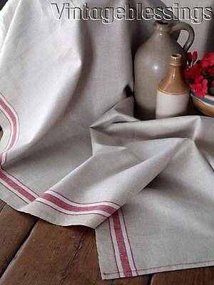 "Antique 19th c. Ecru Red Stripe French Linen Yardage Fabric 102"" x 25 1/4"""