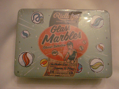 New Ridley's Classic Toys 70 Traditional Glass Marbles In A Tin Assorted Sizes