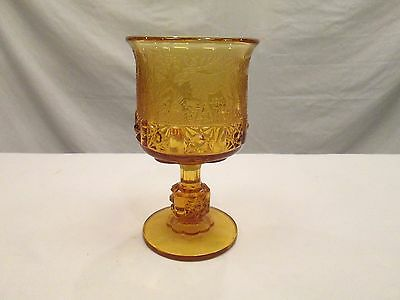 1x AMBER Black Forest LG Wright Fenton Etched Daisy & Cube Moose Glass Goblet