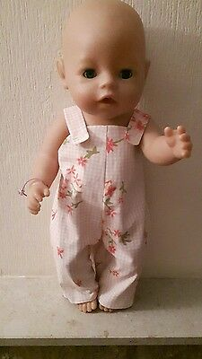 Handmade Clothes Floral/check Printed Dungarees To Fit Baby Born/annabell