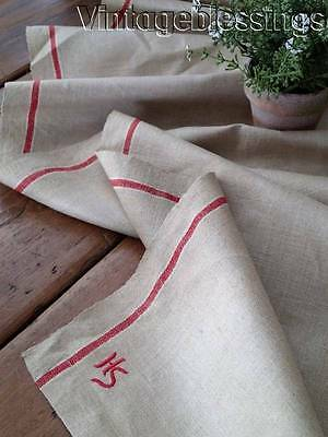 "ANTIQUE  French Red Stripe Yardage Linen 117"" x 35"" Rustic Wonderful"