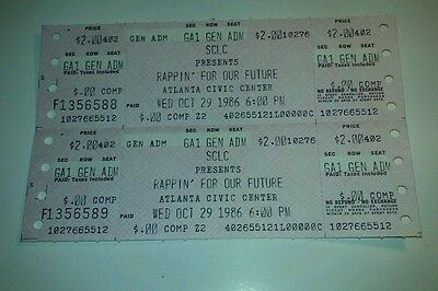 Sclc Presents Rappin For Our Future Oct 29 1986 Unused Uncut Vintage Tickets